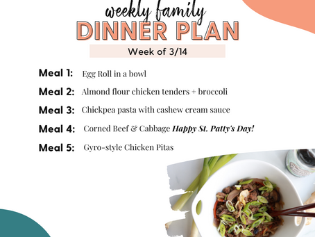 Meal Plan Monday: Family Dinners Week of 3/14