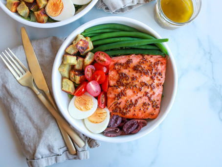 Honey Dijon Grilled Salmon Nicoise Salad