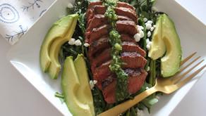 Recipe: Flank Steak + Avocado Salad with Chimichurri