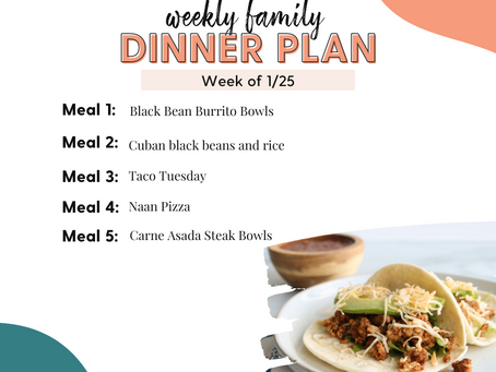 Meal Plan Monday: Family Dinners Week of 1/25