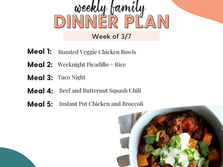 Meal Plan Monday: Family Dinners Week of 3/7