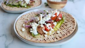 Gyro-style Greek Chicken Wraps with easy tzaziki