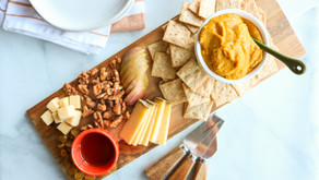 Thanksgiving Cheese Board for two with rosemary pumpkin hummus