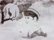 「満月に鶴」
