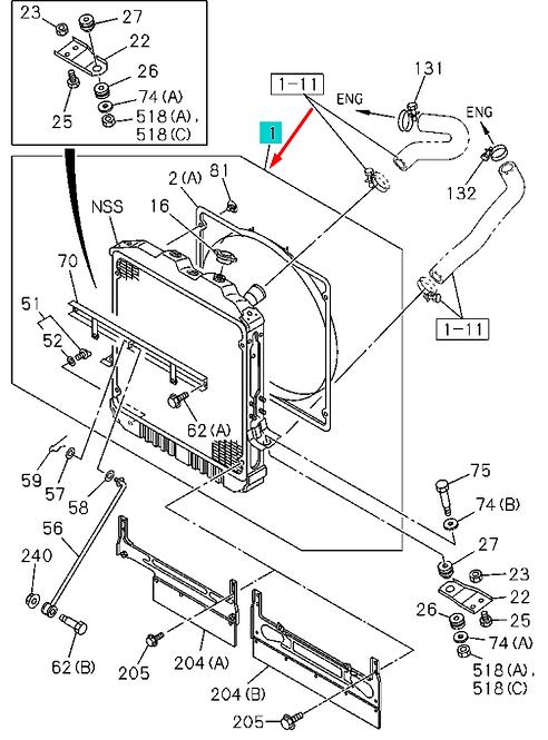 8973710110 радиатор системы охлаждения ДВС