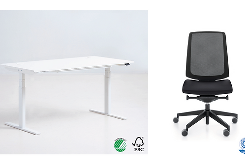Sæt pris: Q20 Skrivebord + Light UP kontorstol
