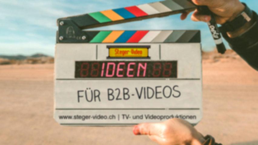 Anregungen und Ideen für B2B-Videos gesucht? Steger-Video.ch kann helfen: Storytelling, Interview mit Führungskräften, Nachrichten, Spaß & Unterhaltung, Videoreihe, Präsentation, Pain Points, Fragerunde, Corporate Social Responsibility, How-to-Videos, Live-Sendung, Produktvorführung, Vom Blogbeitrag zum Film