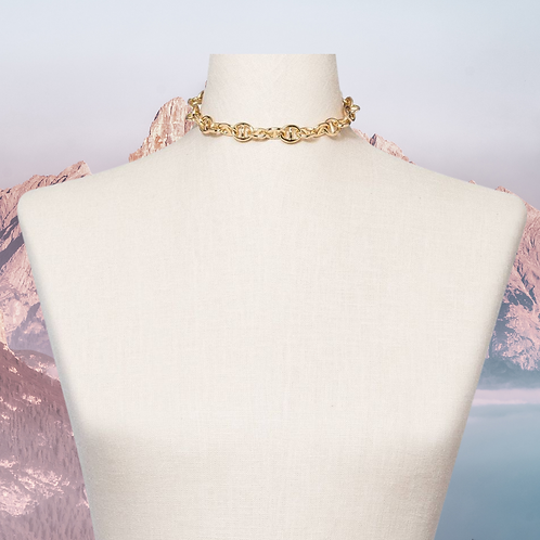 Gold Double Link Chain Collar Necklace