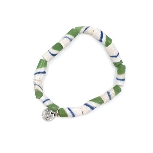 African Clay Beads Green + Blue
