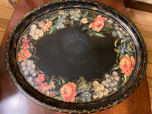 Vintage hand-painted, oval, metal tray