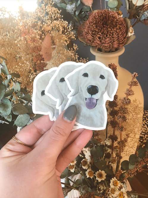 """Golden Retriever Dog Sticker (Use Code """"STICKERS"""" For Free Shipping)"""