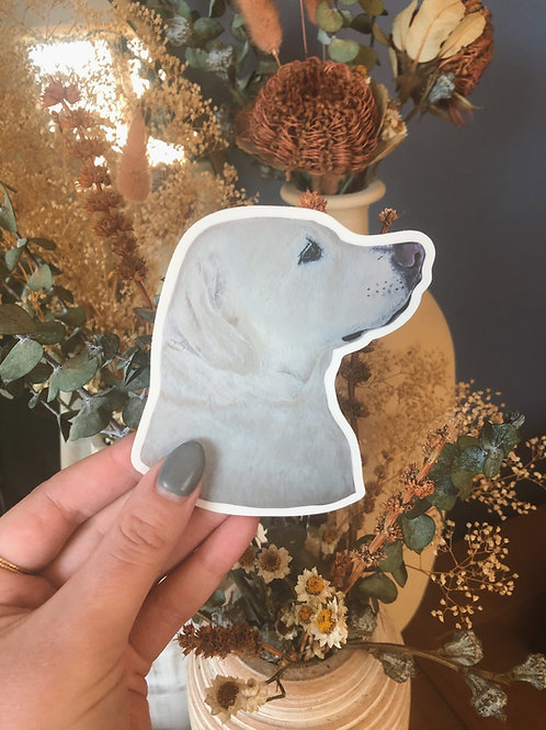 """Large Yellow Lab Dog Sticker (Use Code """"STICKERS"""" For Free Shipping)"""