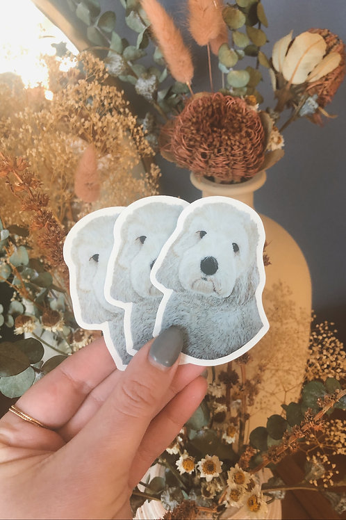 """White Doodle Dog Sticker (Use Code """"STICKERS"""" For Free Shipping)"""