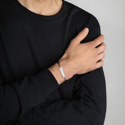 Mortui Vivos Docent Engraved Silver Bar String Bracelet