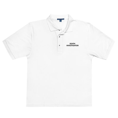 Death Investigator Men's White Premium Polo