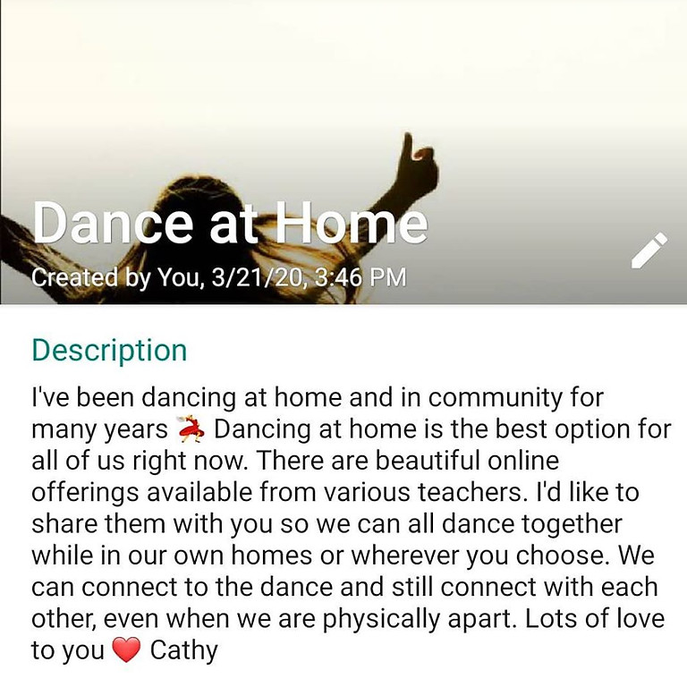 Ongoing Dance at Home WhatsApp Group
