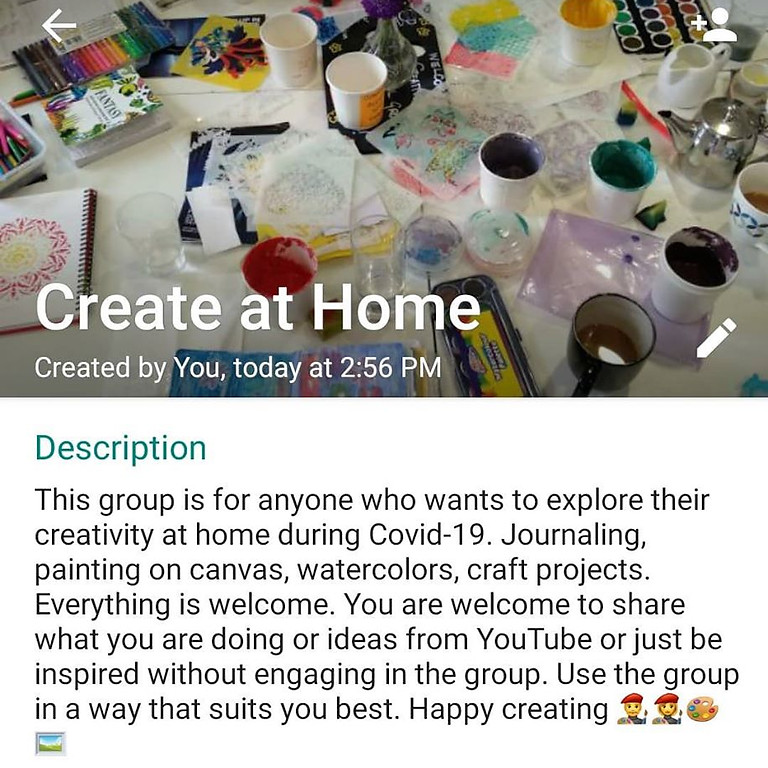 Ongoing Create at Home WhatsApp Group