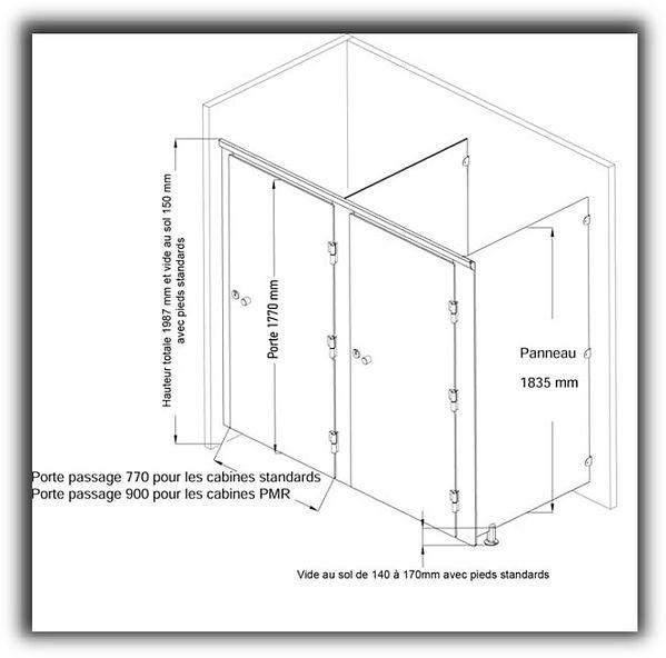 cabine sanitaire stratifié compact CABSAN C 10- sanitary cabin CABSAN - sanitärkabinen CABSAN