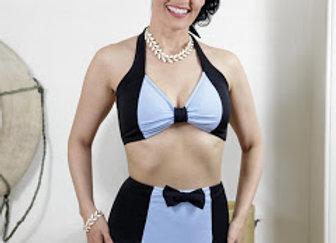 Costume bikini nero e azzurro anni 50
