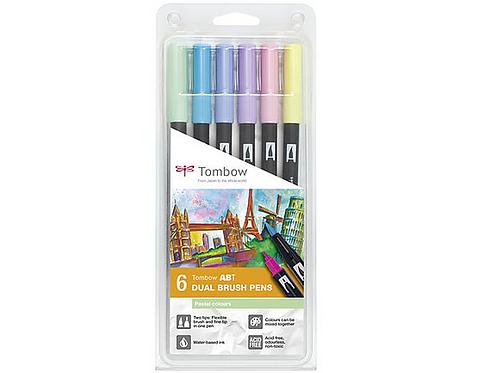 Conjunto Brush Pens Tombow Cores Pastel c/6