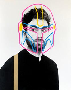 Homme au masque fluo