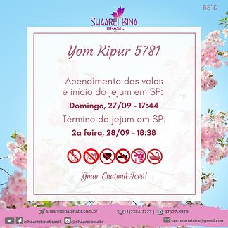 Horários Yom Kipur 5781