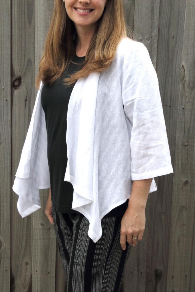 White Cotton Waterfall jacket