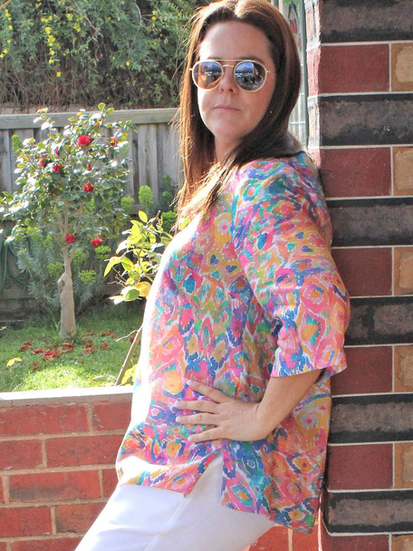 IMG_1838 Pink Floral Top and Pants Garden side view.jpg