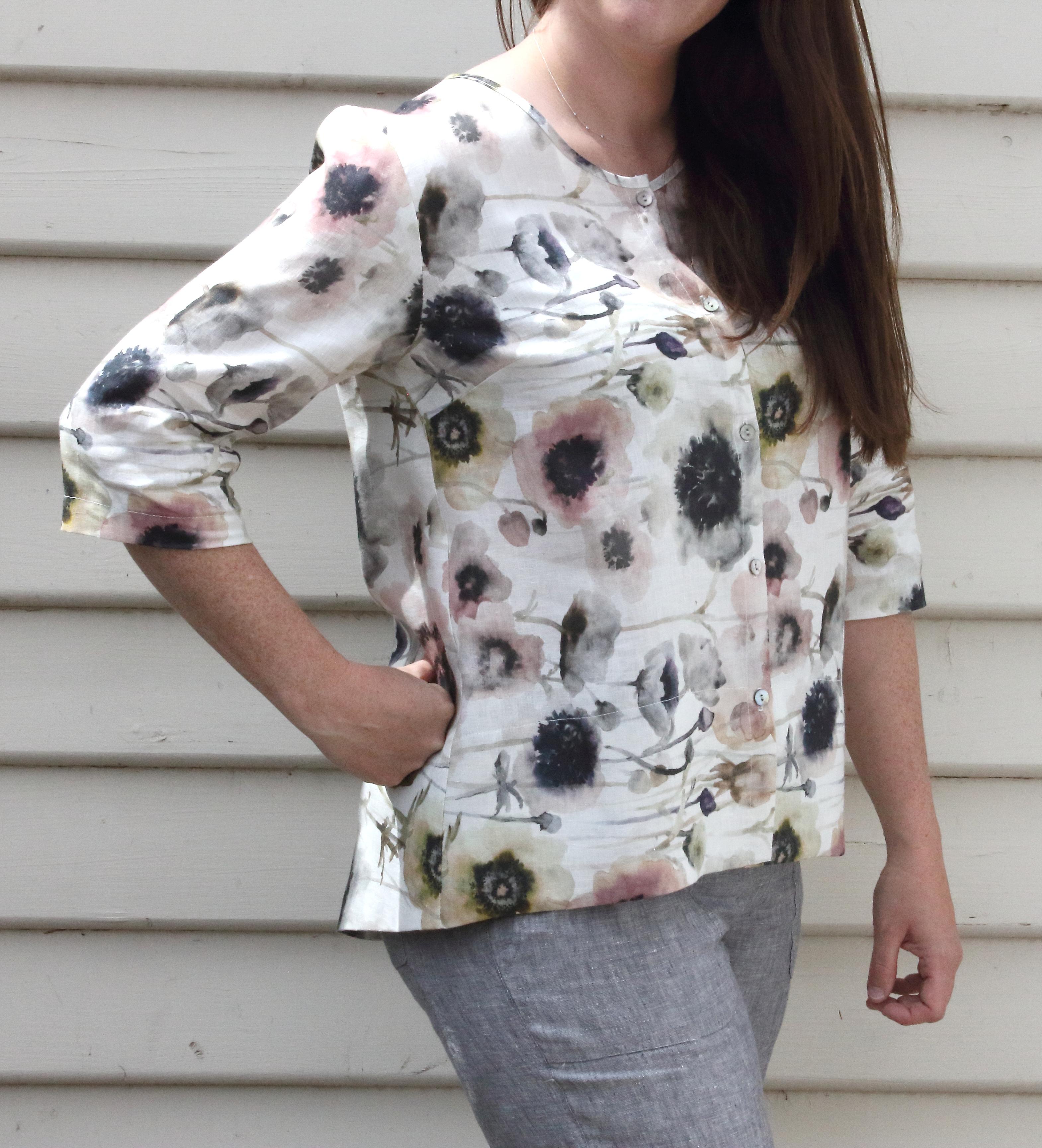 Pastel Floral Print Hi Lo Linen Cardigan