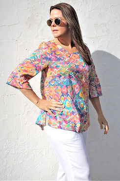 women's bright colourful marrakesh market inspired print summer top by idyl clothing made in Australia