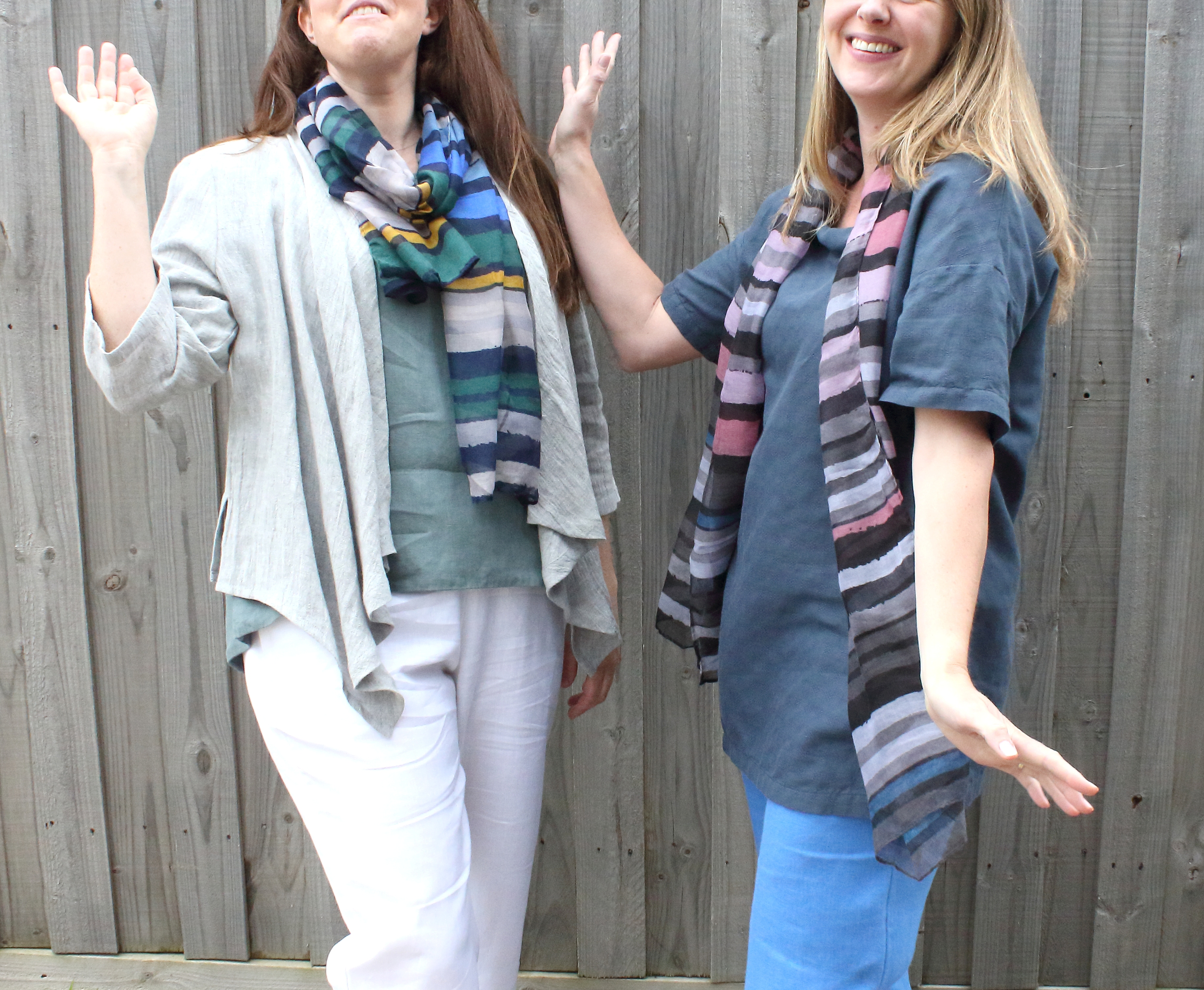 idyl linen waterfall jacket and cowl neck tunic
