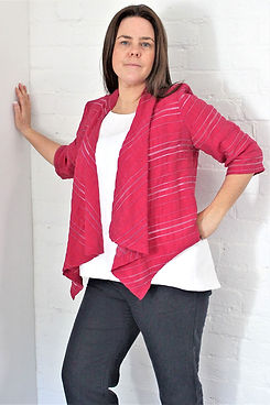pink self stripe waterfall jacket made by idyl clothing made in Australia
