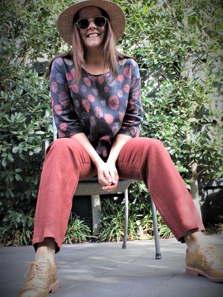 Cotton Blend Sunset Hi Lo Top with Annie Pure Linen Sunset Pants