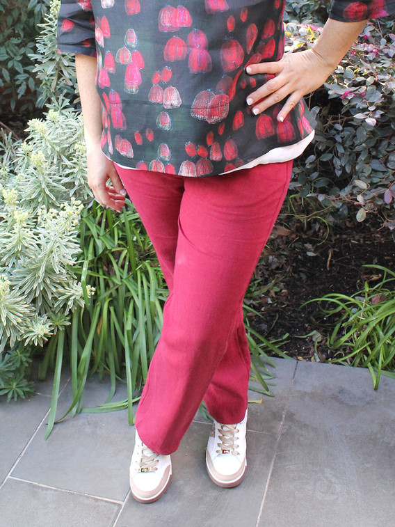 Pure Linen Rosie Red Pants