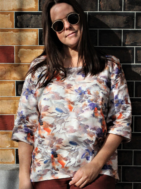 Summer Cool Pure Linen Print Top. Made in Melbourne by idyl.