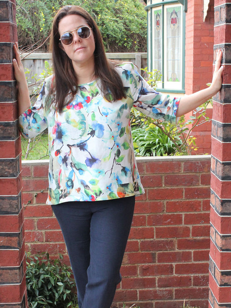 Watercolour Pure Linen Top and Pure Linen Annie Pants. Made in Melbourne by idyl.