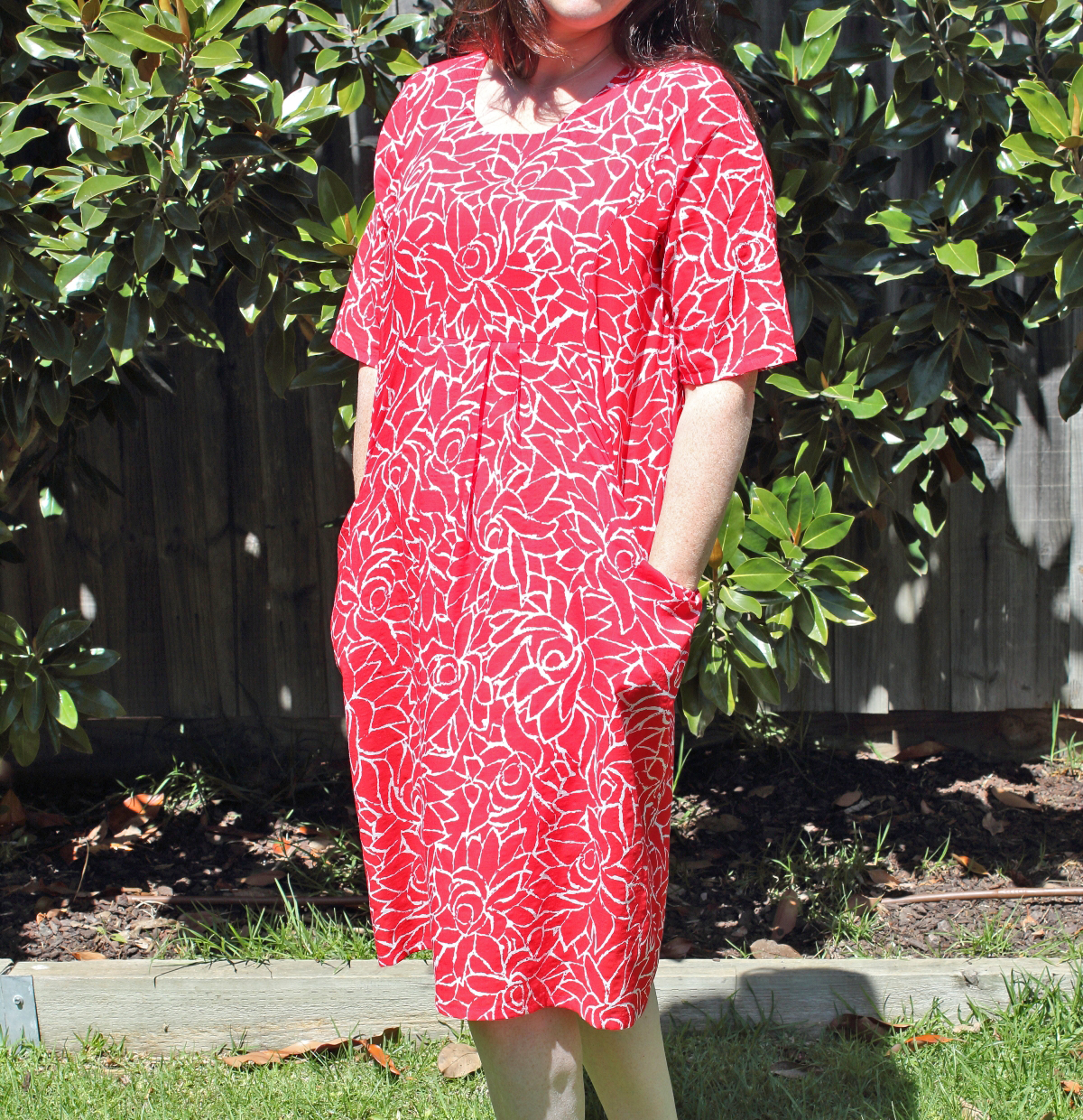 Red and White Print Summer Dress