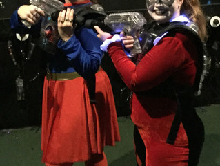 Happy Halloween...(aka Supergirl Shoots at Harley Quinn)