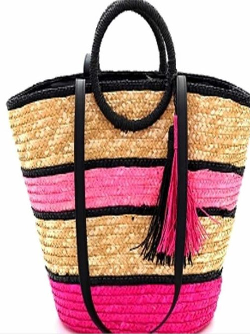Multi Fushia Straw Handbag