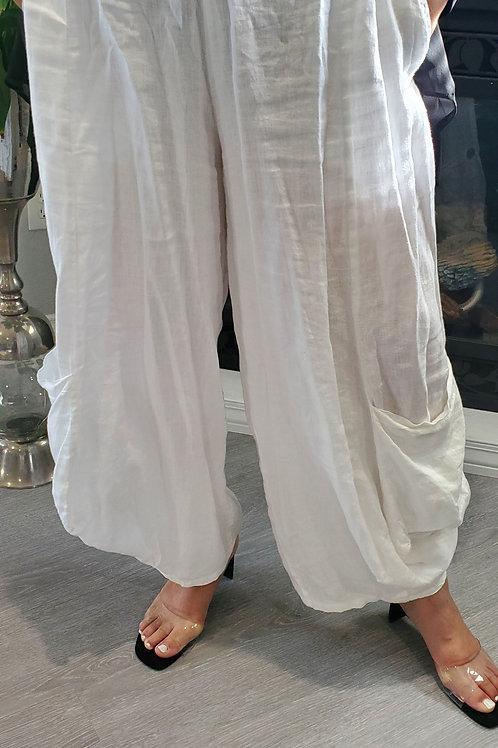 White Italian Linen Pants