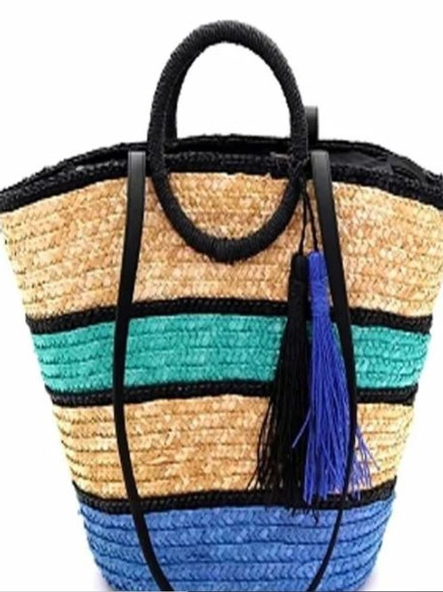 Multi Blue Straw Handbag