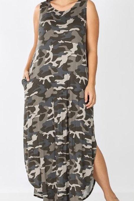 Camouflage Split Side Maxi