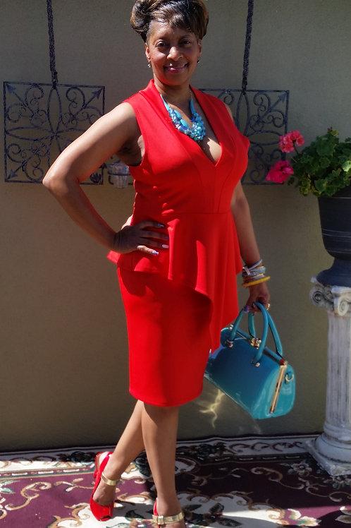 """V"" cut front Red Dress"