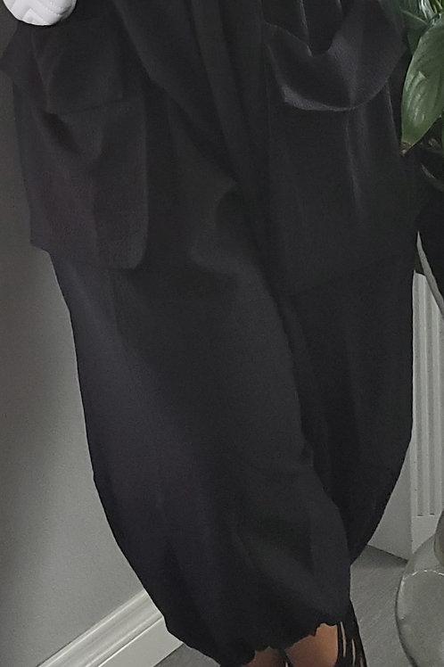 Black Front Pocket Harem Pants