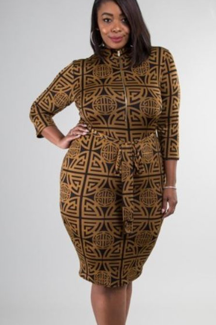 Greek Key Printed Dress