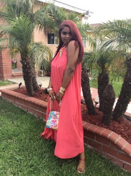 Coral Halter Maxi Dress