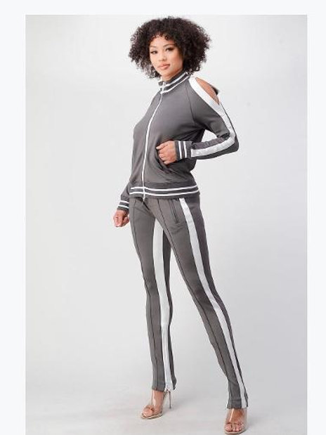 Gray Track Jogger Suit