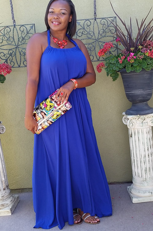 A-line Royal Blue Maxi