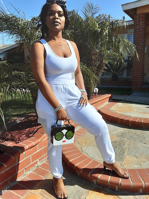 White Bling Pocket Sweat Suit