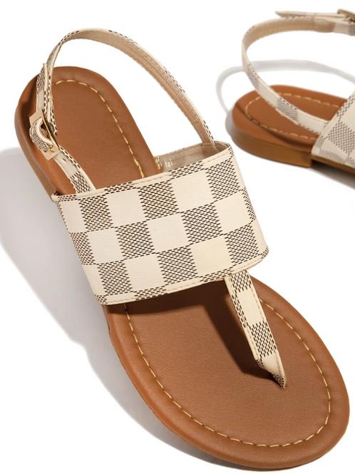 Square Print Pattern Thong Sandal
